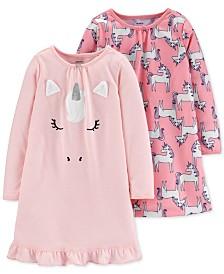 Carter's Toddler Girls 2-Pk. Unicorn Nightgowns Set