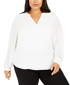 Plus Size Split-Neck Long-Sleeve Top