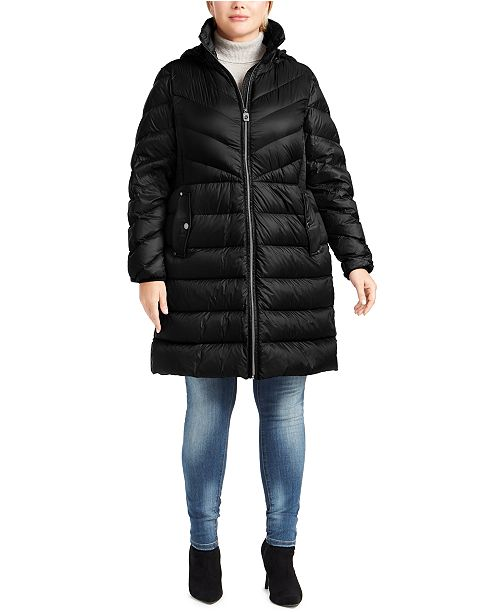 Michael Kors Plus Size Hooded Packable Down Puffer Coat, Created For Macy's