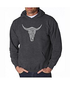 Men's Word Art Hooded Sweatshirt - Cowskull Country Hits