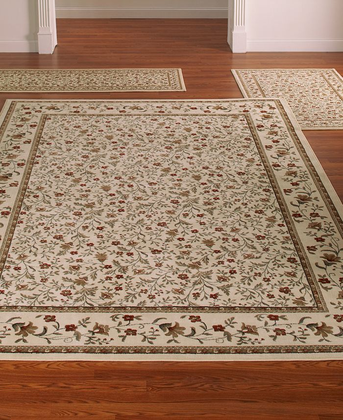 KM Home - Area Rugs, Roma Collection 3-Piece Set Floral Ivory