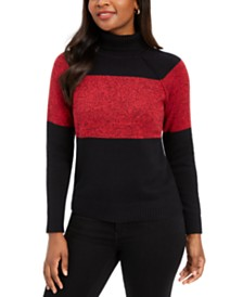 Karen Scott Petite Colorblock Cotton Turtleneck Sweater, Created for Macy's
