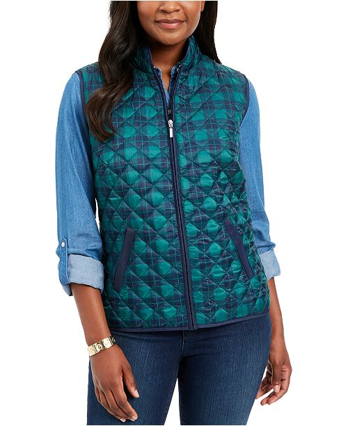 Karen Scott Plaid Puffer Vest, Created for Macy's