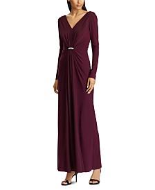 Lauren Ralph Lauren Georgette-Overlay Jersey Gown