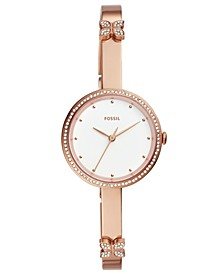 Women's Maxine Crystal Butterfly Rose Gold-Tone Stainless Steel Bangle Bracelet Watch 30mm