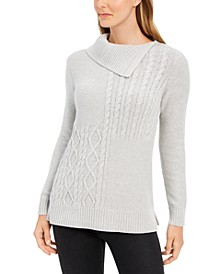 Petite Envelope-Neck Cable-Knit Sweater, Created For Macy's