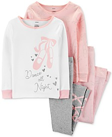 Little & Big Girls 4-Pc. Snug-Fit Cotton Ballet Pajamas Set