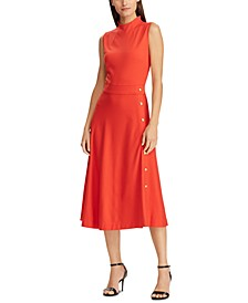 Sleeveless Button-Trim Ponte Dress