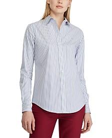 Lauren Ralph Lauren Stripe-Print No-Iron Button-Down Shirt