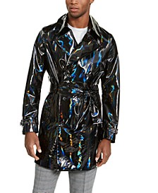 INC Men's ONYX Rubberized Holographic Trench Coat, Created For Macy's