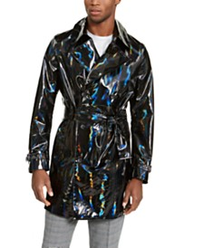 I.N.C. Men's ONYX Rubberized Holographic Trench Coat, Created For Macy's