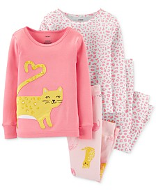 Carter's Baby Girls 4-Pc. Cotton Cat Pajamas Set