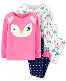 Carter's Baby Girls 4-Pc. Cotton Owls Pajamas Set