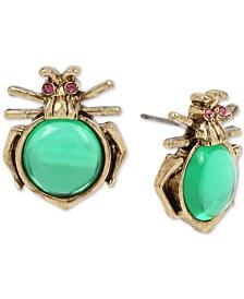 Betsey Johnson Gold-Tone Pavé & Stone Bug Stud Earrings