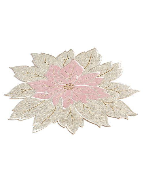 Elrene Blushing Poinsettia Cutwork Placemat