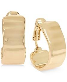 "Small Gold-Tone Wavy Hoop Clip-On Earrings 3/4"""