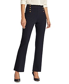 Petite Button-Trim Ponte Sailor Pants