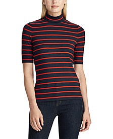 Petite Stripe-Print Stretch Turtleneck Top