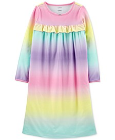 Little & Big Girls Rainbow-Print Fleece Nightgown