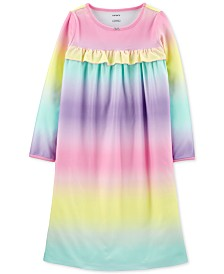 Carter's Little & Big Girls Rainbow-Print Fleece Nightgown