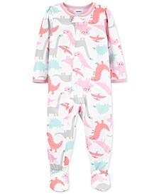 Baby Girls Footed Dinosaur Pajamas