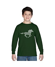 Boy's Word Art Long Sleeve T-Shirt - Horse Breeds