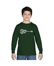 Boy's Word Art Long Sleeve - Country Guitar