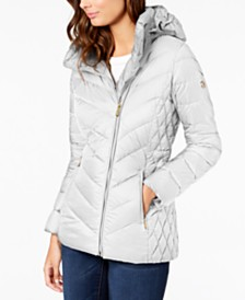 Michael Michael Kors Asymmetrical Hooded Packable Down Puffer Coat, Created for Macy's