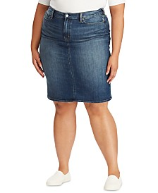 Lauren Ralph Lauren Plus Size Curvy Sculpt Denim Skirt