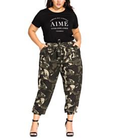 City Chic Trendy Plus Size Cotton Camo-Print Pants