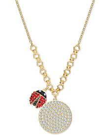 "Swarovski Gold-Tone Pavé Coin & Ladybug Pendant Necklace, 14-7/8""  + 5/8"" extender"