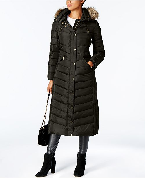 Michael Kors Faux-Fur Trim Hooded Down Coat