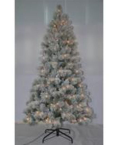 Puleo 7.5' Pre-lit Two Tone Slim Green Tree with Hard Needle 500 Clear Lights
