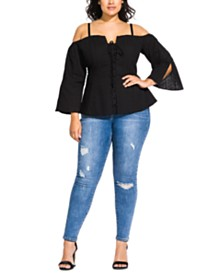 City Chic Trendy Plus Size Cotton Embroidered Top