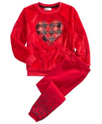 Little Girls 2-Pc. Faux Fur Heart Sweatshirt & Jogger Pants Set, Created for Macy's