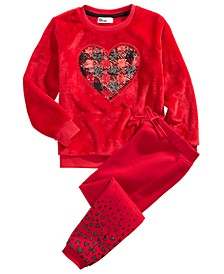 Little Girls 2-Pc. Faux Fur Heart Sweatshirt & Jogger Pants Set, Created for Macy's