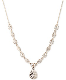 "Gold-Tone Crystal Filigree Lariat Necklace, 16"" + 3"" extender"