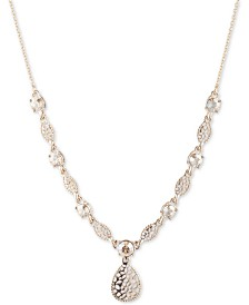 """Marchesa Gold-Tone Crystal Filigree Lariat Necklace, 16"""" + 3"""" extender"""