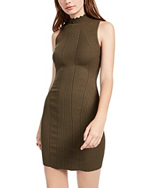 Juniors' Mock-Neck Scallop-Edge Dress