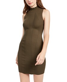 Almost Famous Juniors' Mock-Neck Scallop-Edge Dress