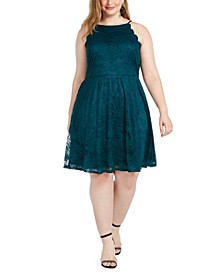 Trendy Plus Size Lace Fit & Flare Dress