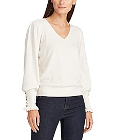 Petite Buttoned-Cuff Long-Sleeve Sweater