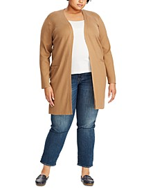 Plus Size Ribbed Long Cardigan