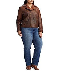 Plus Size Tumbled Leather Jacket