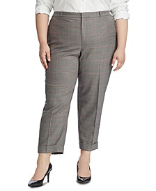 Plus Size Glen-Plaid-Print Stright Pants