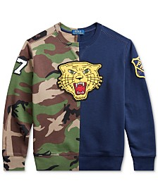 Polo Ralph Lauren Big Boys Fleece Tiger Half-Camo Knit Sweatshirt