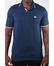 Men's Basic Short Sleeve Snap Button Polo with US Flag Logo
