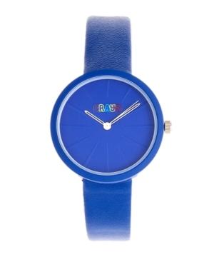 Unisex Blade Blue Leatherette Strap Watch 37mm