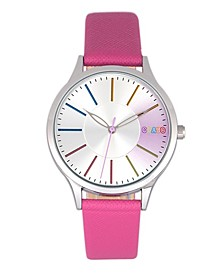 Unisex Gel Hot Pink Leatherette Strap Watch 35mm