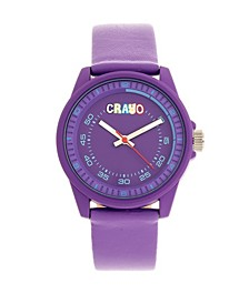 Unisex Jolt Purple Leatherette Strap Watch 34mm